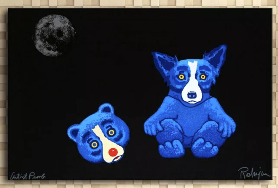 Awesome BLUE DOG Artist Proof Art Canvas Print