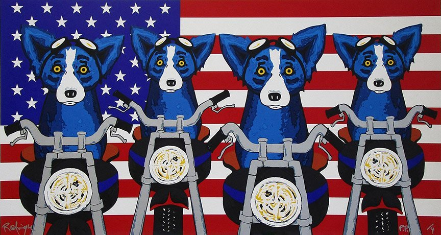 Awesome BLUE DOG Art Canvas Print
