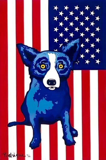 Awesome BLUE DOG Art Canvas Print