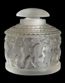 Rare LALIQUE France Les Enfants Cherub Vanity Jar