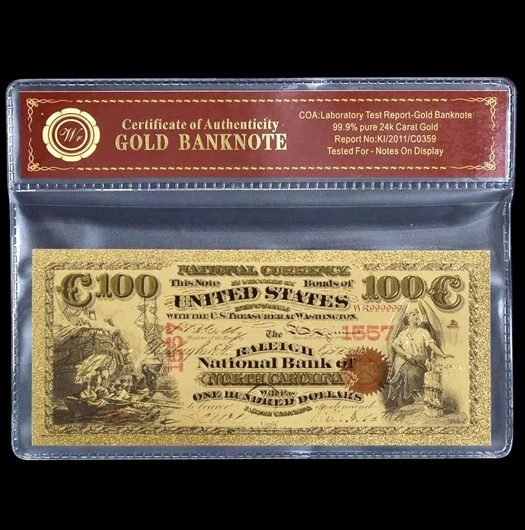 1875 Lab Tested 24k Gold $100 U.S. Banknote