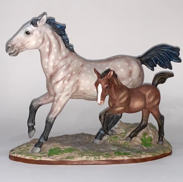 Rare 222/950 GREGORY PERILLO Porcelain Horses Figurine