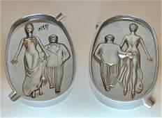2-Sided Art Nouveau Speakeasy Risqué Metal Ashtray