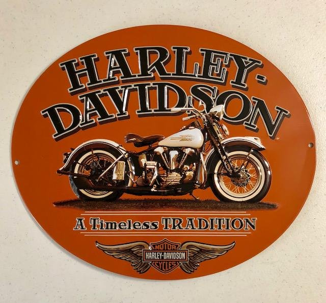Official HARLEY DAVIDSON Embossed Tin Advertising Sign