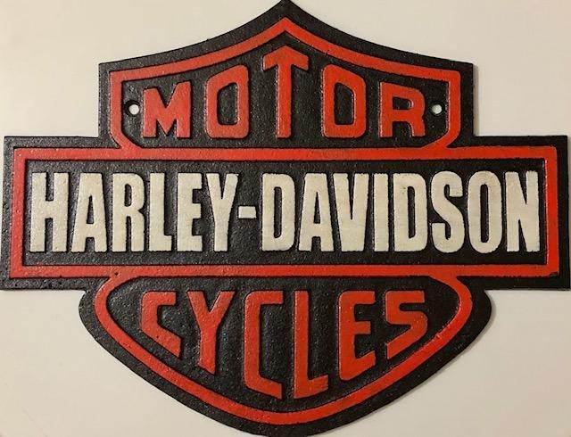 HARLEY-DAVIDSON Cast Iron Shield Advertising Sign