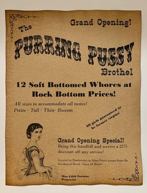 Old West The PURRING PUSSY Whorehouse Brothel Poster