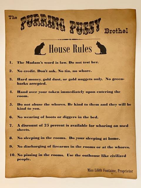 Old West PURRING PUSSY Whorehouse House Rules Notice