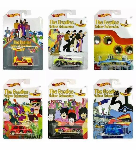 Lot of 6 The Beatles Yellow Submarine Hot Wheels