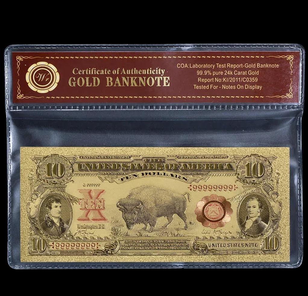 1901 Lab Tested 24k Gold Bison $10 Banknote