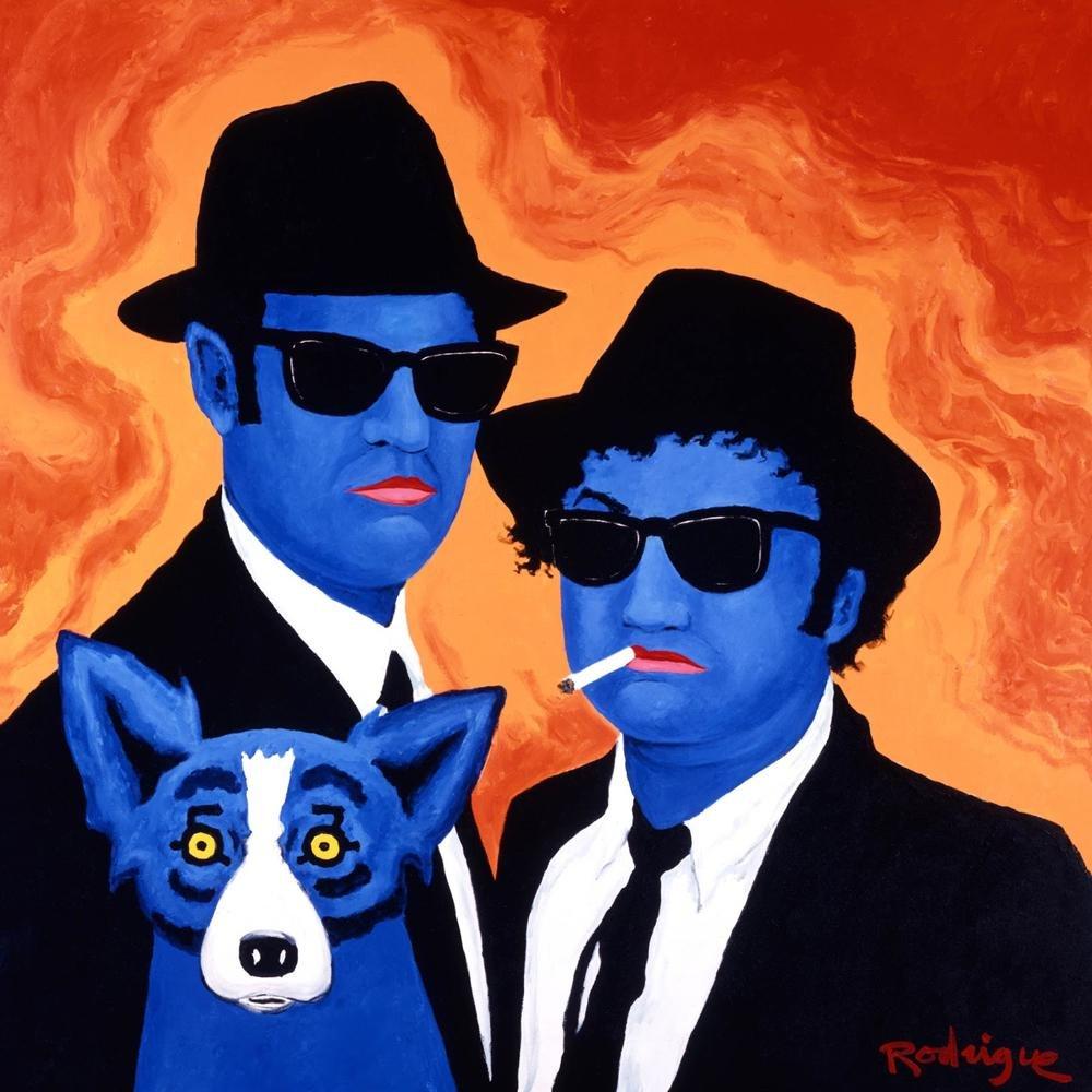 Signed Blue Dog Art Blues Brothers Canvas Art Print