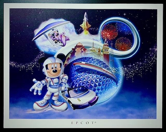 RARE Disney EPCOT CENTER Artist Approved Lithograph