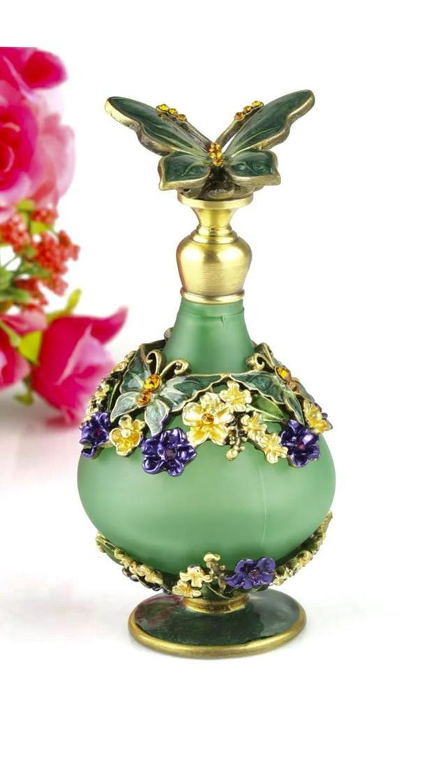 Enameled & Jeweled Butterfly Art Glass Perfume Bottle