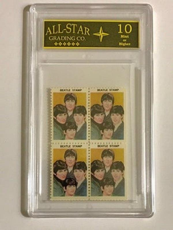 Rare 1964 The BEATLES Un-Cut Block U.S. Postage Stamps