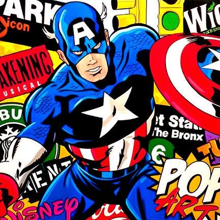 STEVE KAUFMAN Pop Art CAPTAIN AMERICA Canvas Print