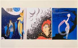 Lot of 3 ERTE Art Deco Art Print Lithographs 8 x 10