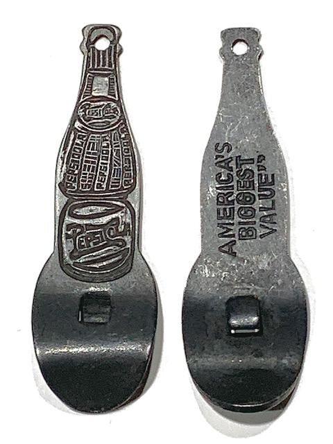 Vintage 2-Sided PEPSI-COLA Metal Fob Bottle Opener