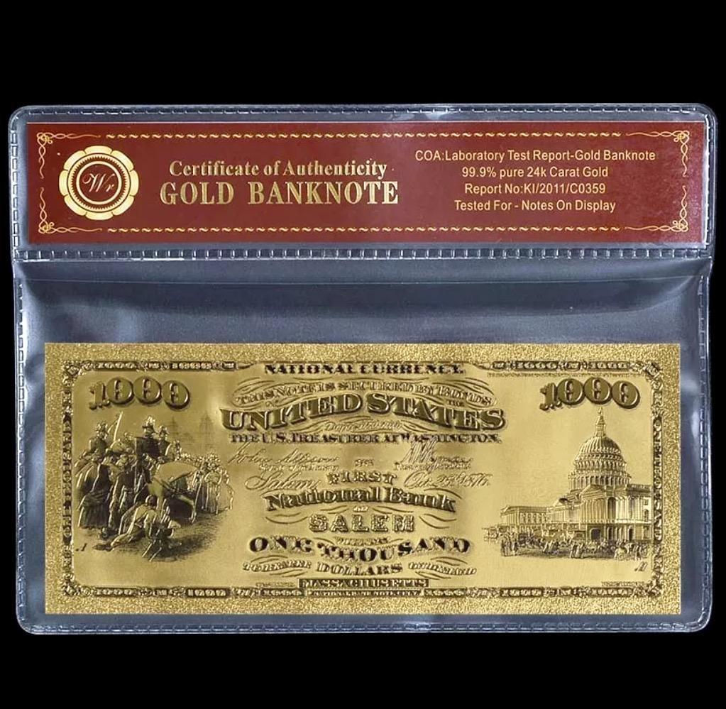 1875 Lab Tested 24k Gold $1000 U.S. Banknote