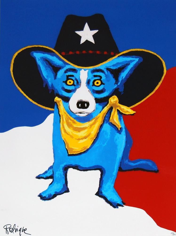 Signed Blue Dog Art on Canvas Art Print