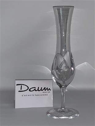 Signed DAUM France Stunning Crystal Vase 12 in tall