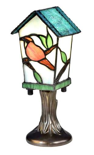 Dale TIFFANY Studio Stained Glass Birdhouse Accent Lamp