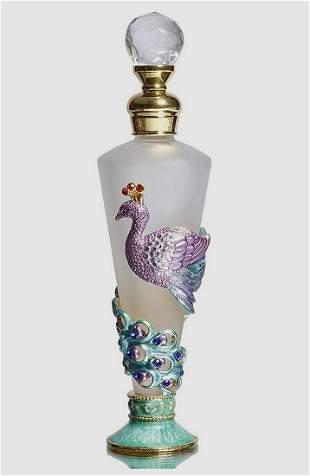 Stunning Jeweled & Enameled Art Glass Perfume Bottle