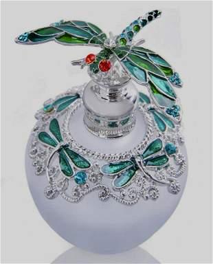 Beautiful Enameled Art Glass Fairy Perfume Bottle