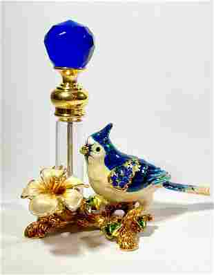 Gorgeous Jeweled & Enameled Art Glass Perfume Bottle