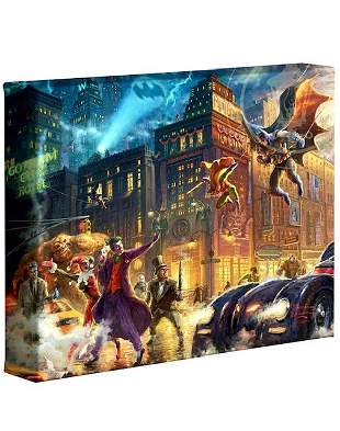 Genuine Thomas Kinkade Batman & Robin Canvas Art w/COA