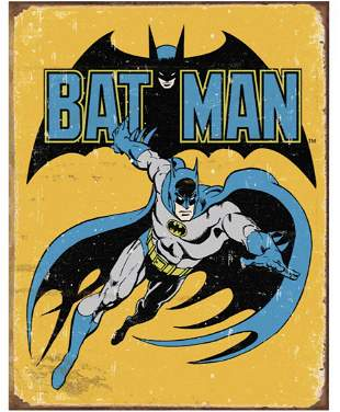 D.C. Comics Old School BATMAN Throwback Metal Sign