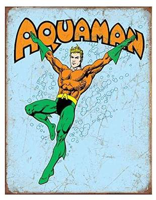 D.C. Comics AQUAMAN Throwback Metal Sign