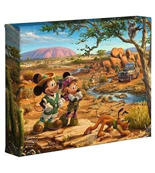 Thomas Kinkade Mickey & Minnie Safari Canvas Art COA