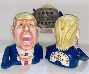Explicit DONALD TRUMP Cast Iron Mechanical Coin Bank