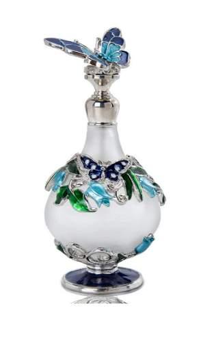 Beautiful Jeweled & Enameled Art Glass Perfume Bottle