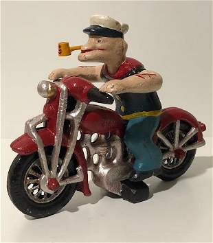Vintage Cast Iron Toy POPEYE on Patrol Harley Davidson