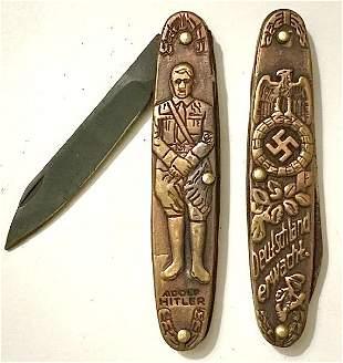 Nazi Germany Adolf Hitler Embossed Pocket Knife