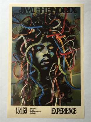 JIMI HENDRIX Experience 1969 Germany Concert Poster