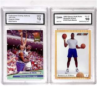 Lot of 2 Gem 10 SHAQUILLE ONEAL Rookie Basketball Cards