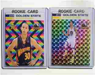 Lot of 2 Rare STEPH CURRY Custom Rookie Basketball Crds