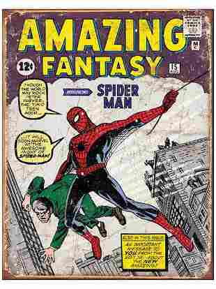 Marvel Comics Amazing SPIDER-MAN Throwback Metal Sign