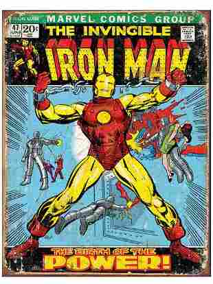 Marvel Comic Books IRON MAN Throwback Metal Sign