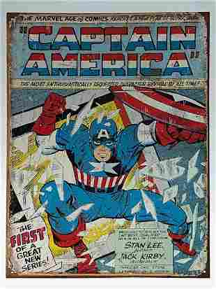 Marvel Comic Books CAPTAIN AMERICA Throwback Metal Sign