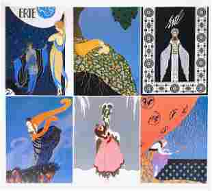 Lot of 6 ERTE Art Deco Lithographs 8 x 10