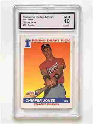 Gem Mint 10 CHIPPER JONES Rookie Baseball Card