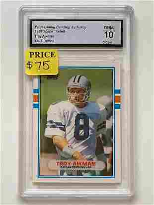 1989 Topps Traded 1 st  TROY AIKMAN Rookie Football