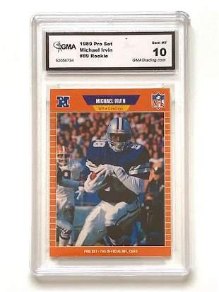 1989 MICHAEL IRVIN Gem 10 Rookie Football Card