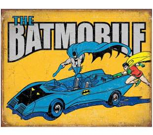 D.C. Comics BATMAN and ROBIN Throwback Metal Sign