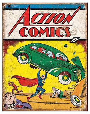 Action Comics SUPERMAN Throwback Metal Sign