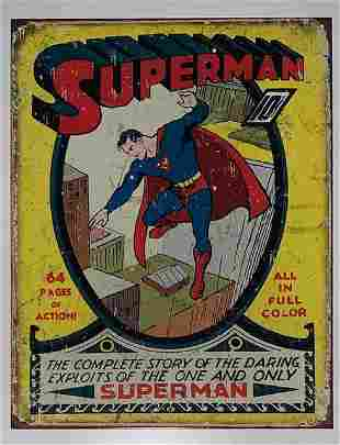 D.C. Comic Book Cover SUPERMAN Throwback Metal Sign