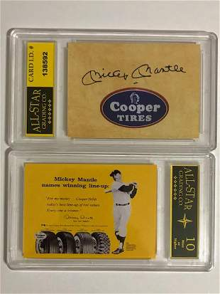 MICKEY MANTLE Cooper Tires Advertising Baseball Card