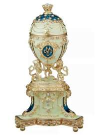 FABERGE Royal Enameled Egg w/Gilded Lions Stand